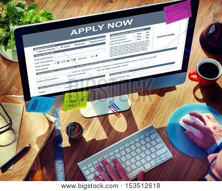 Apply Now Form Information Job Concept
