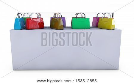 Women bag on the counter for sale 3d render