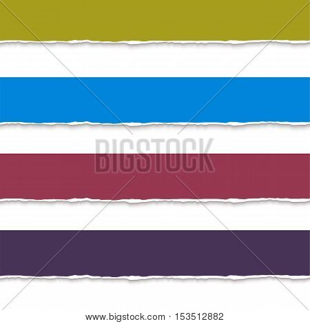Web banner torn paper pieces. Realistic vector torn paper banners for web. Ripped edges vector paper