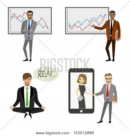 Set of businessman character isolated on white background vector illustration
