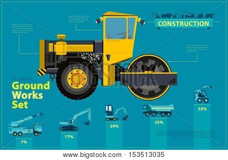 Yellow steam roller, road roller. Blue infographic big set of ground works blue machines vehicles. Catalog page. Heavy construction equipment for building truck digger crane bagger mix. Master vector.