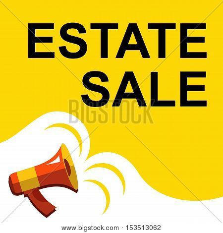 Megaphone With Estate Sale Announcement. Flat Style Illustration