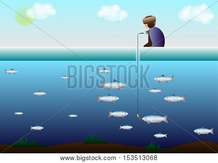 the fisherman sits on the ice and beneath the ice fish