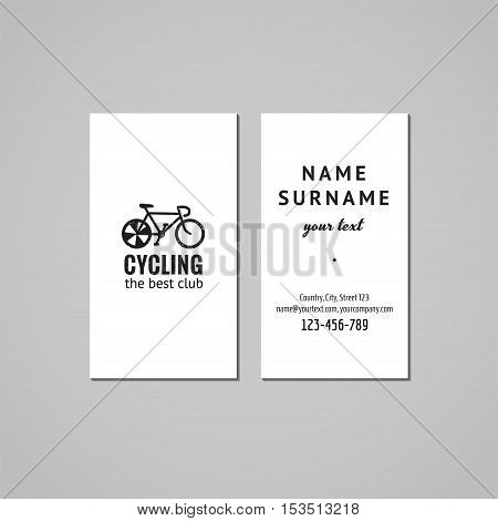 Sport & fitness vintage business card design concept. Logo with bike. Vintage hipster and retro style.