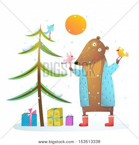 Colorful animal cartoon for christmas or New Year greeting card in childish style. Vector illustration.