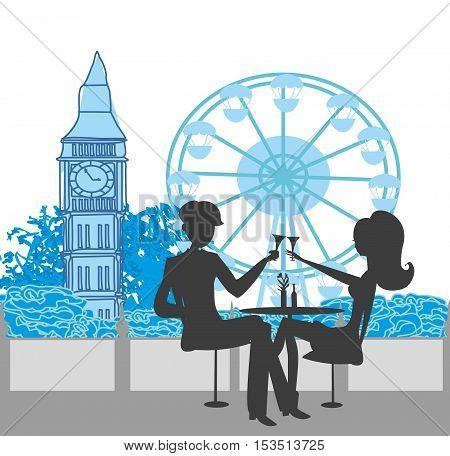 Romantic couple silhouette in London , vector illustration