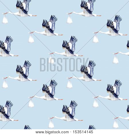 Seamless pattern.Stork with baby.Watercolor hand drawn illustration.Blue background.