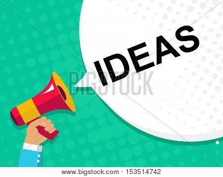 Hand Holding Megaphone With Ideas Announcement. Flat Style Illustration