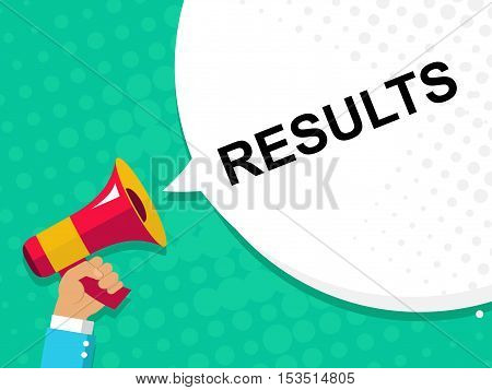 Hand Holding Megaphone With Results Announcement. Flat Style Illustration