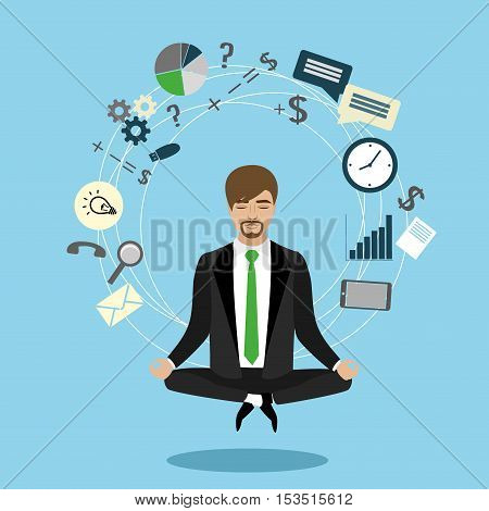 Businessman or office worker in lotus invents ideasvector illustration