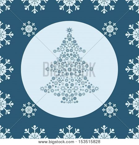 Christmas snowflakes and tree seamless blue background. New year vector illustration.