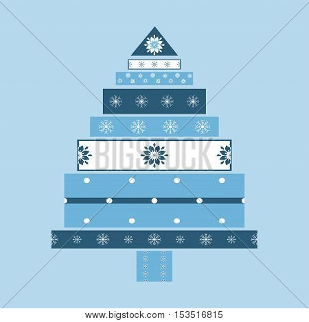 Christmas tree from gifts card background. New year vector illustration.