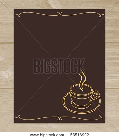 Dark brown menu on yellow wooden background with Cup of coffee and empty space.