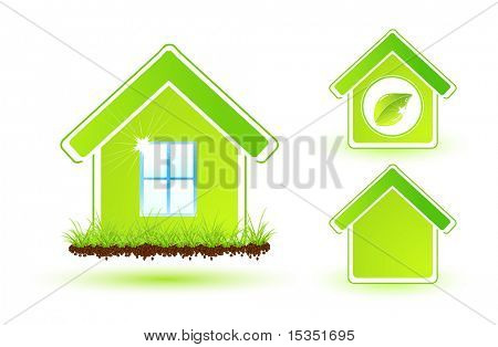 Set of green eco houses