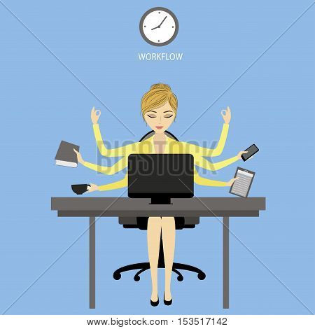 Multitasking Businesswoman or office worker sitting at the computer and fashion icons or application.Business woman shiva vector illustration concept.