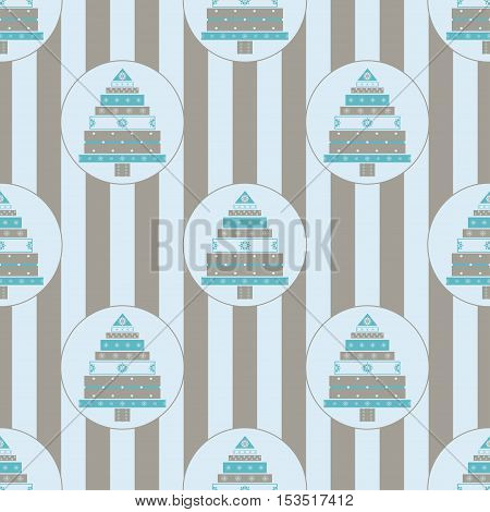 Christmas tree from gifts seamless pattern. New year vector illustration.