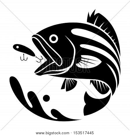 graphic black fishing on white background, vector