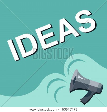 Megaphone With Ideas Announcement. Flat Style Illustration
