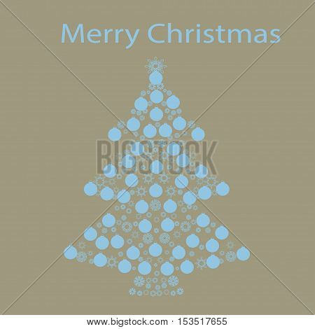 Christmas tree ball card background. New year vector illustration.