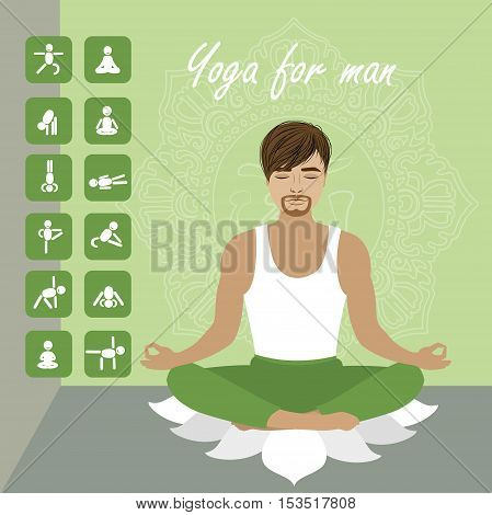 Man in the lotus pose and men icons in different yoga positions vector illustration
