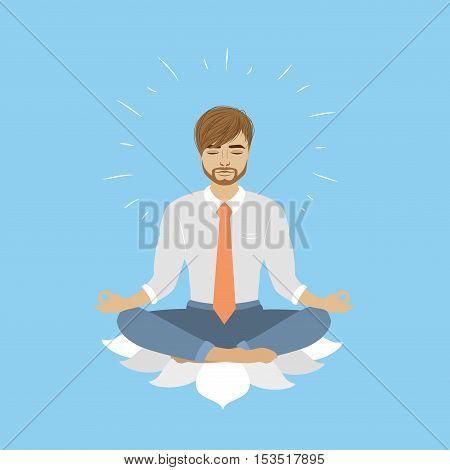 Businessman sitting in lotus pose vector illustration