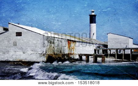 Landscape with Doringbaai Harbour and tall Lighthouse