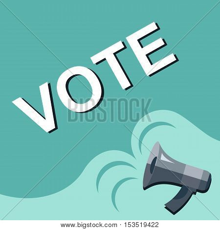 Megaphone With Vote Announcement. Flat Style Illustration