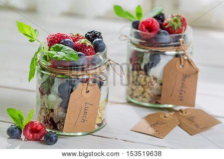 Fresh Granola With Yogurt And Berry Fruits