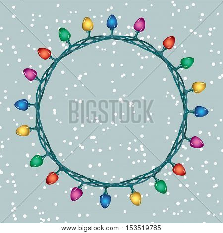 vector round border of christmas light lamps on blue background with copy space