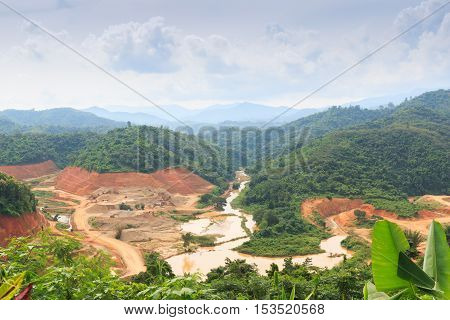 Area hills green forests with nature landscape and construction