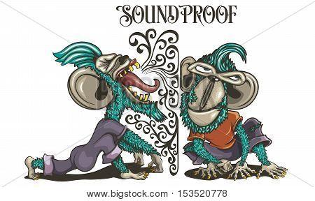 Soundproof Monkeys listening Screaming Ape Expression Chimpanzee