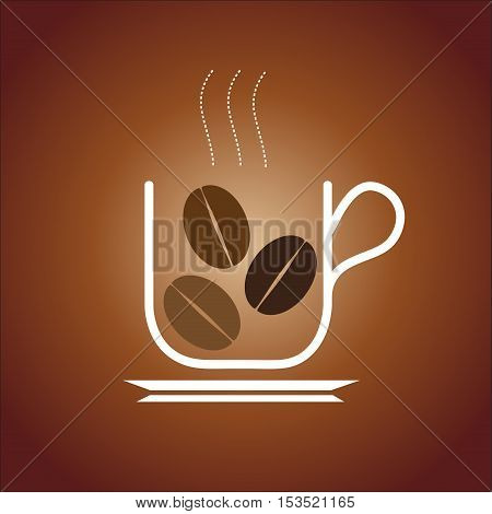 Vector sign coffee on brown, isolated illustration