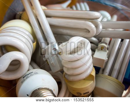 Voronezh, Russia - June 22, 2016: Older fluorescent lamps are collected in a container for disposal