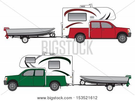Pickup with camper pulling boat on trailer in two different color schemes