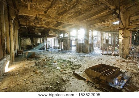 Abandoned old factory interior