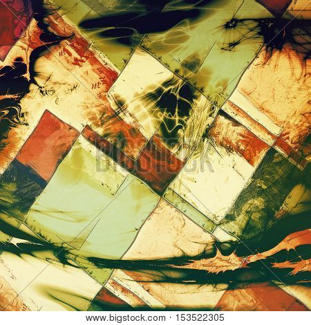 Geometric damaged retro texture with grunge style elements and different color patterns: yellow (beige); brown; green; red (orange); white; black