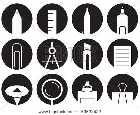 icons on white background stationery in black circles