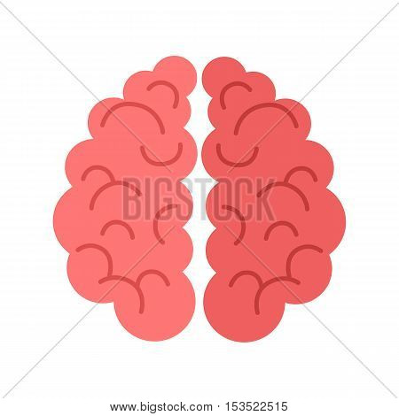 Human brain isolated on white background. Sign of mind in cartoon style. Human anatomy. Mental element. Medicine and science. Brainstorm symbol. Educational concept. Vector illustration in flat style.