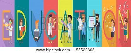 Education banner. Science alphabet. ABC vector with scientists at work. Simple colored letters and scientist character. Scientific research, learning, science test, technology illustration in flat