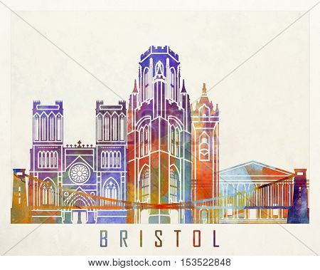 Bristol landmarks in artistic abstract watercolor poster