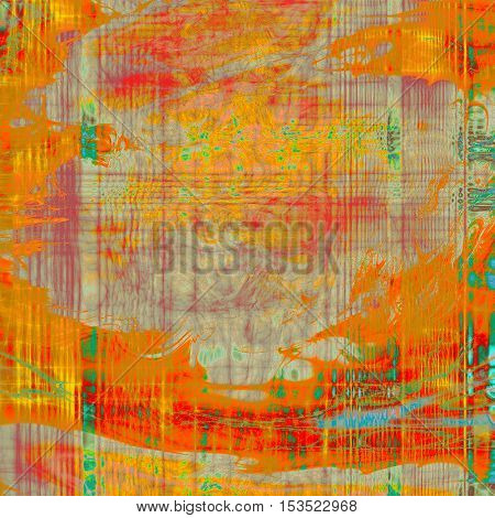 Abstract dirty texture or grungy background. With old style decorative elements and different color patterns: yellow (beige); brown; green; blue; red (orange); pink