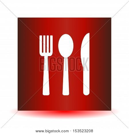 Icon fork spoon knife on a red background. Vector illustration.