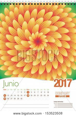 Junio -June in Spanish language- wall calendar 2017 template with abstract floral design, ready for printing. Size: 297mm x 420mm. Format vertical. Spanish version