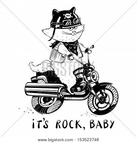 Funny cat on a motorcycle. Cat biker in a cartoon style. Cute cat in the style of ink doodle hand-drawn. Vector illustration.