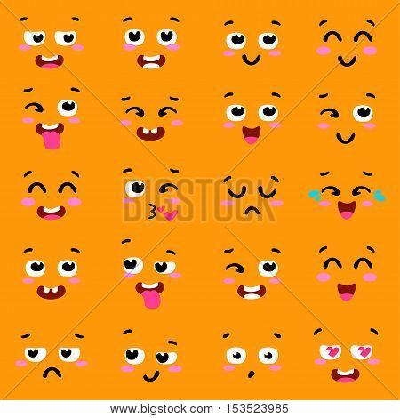 Square emoticon emoji set. Set of colorful emoticons, emoji flat backgound. Colorful emoticon face flat design icons set. Different emotions collection. Vector clip art