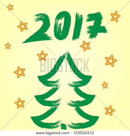 Christmas tree snow of stars number 2017. Brush grunge. Yellow green.