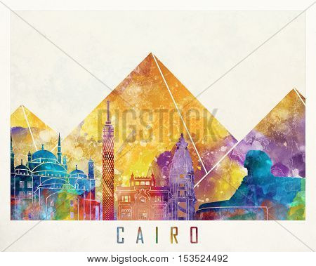 Cairo landmarks in artistic abstract watercolor poster