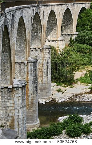 Stone Railway viaduct over the River Ardeche in France