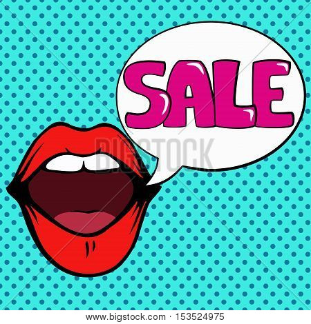 Pop art illustration of red open mouth and white bubble with word sale. Hand drawn line art vintage vector illustration.