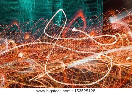 Light Swirl Neon blurry at motion Abstract multicolored blurred lights background swirl trail effect . slow shutter speed effect .
